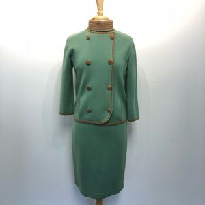 Vintage 60s 3 pc Skirt Top Jacket Knit Medium Suit